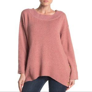 DEMOCRACY Pink Boatneck Oversize Button Sweater L
